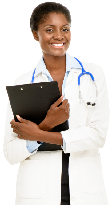 nurse holding documents and wearing stethoscope