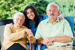 elderly and a caregiver